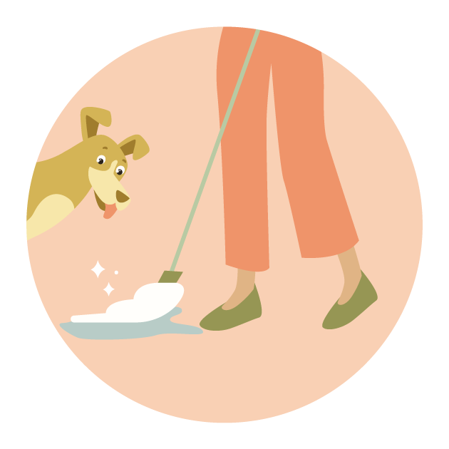 an illustration of a person moping and a dog