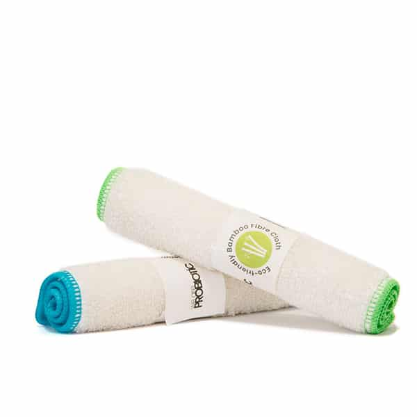 Bamboo Cleaning Cloths: two bamboo cleaning cloths rolled up on a white background