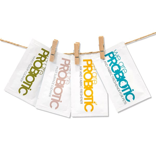 Refill Sachets – Multi-pack: 4 refill sachets hanging on a piece of string with little wooden pegs