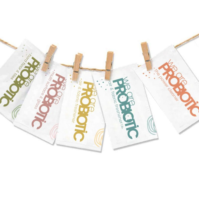 An image of probiotic cleaner sachets in a row