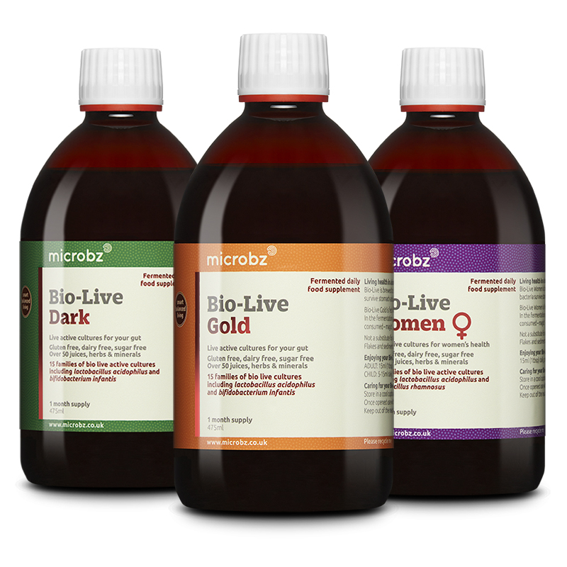 Bio-Live Mix n Match: three different bottle of Bio-Live on a white background